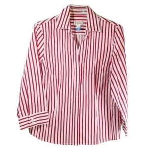TALBOTS RED AND WHITE STRIPPED BUTTON UP